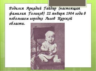 Родился Аркадий Гайдар (настоящая фамилия Голиков) 22 января 1904 года в небо