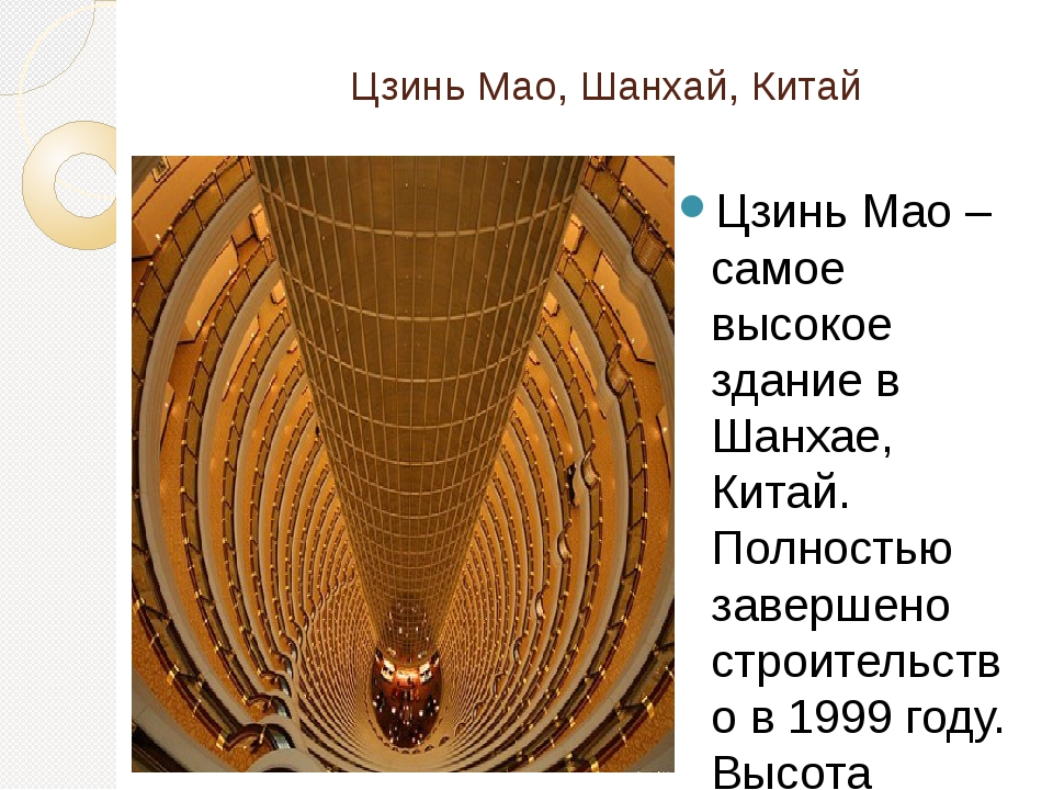 Цзинь Мао, Шанхай, Китай Цзинь Мао – самое высокое здание в Шанхае, Китай. П...