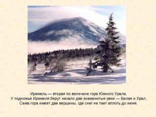 Иремель— вторая по величине гора Южного Урала. У подножья Иремеля берут нача