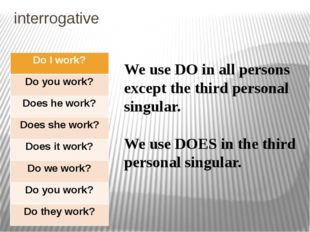 interrogative We use DO in all persons except the third personal singular. We