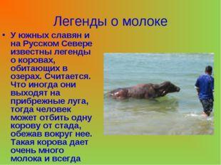 Легенды о молоке У южных славян и на Русском Севере известны легенды о корова