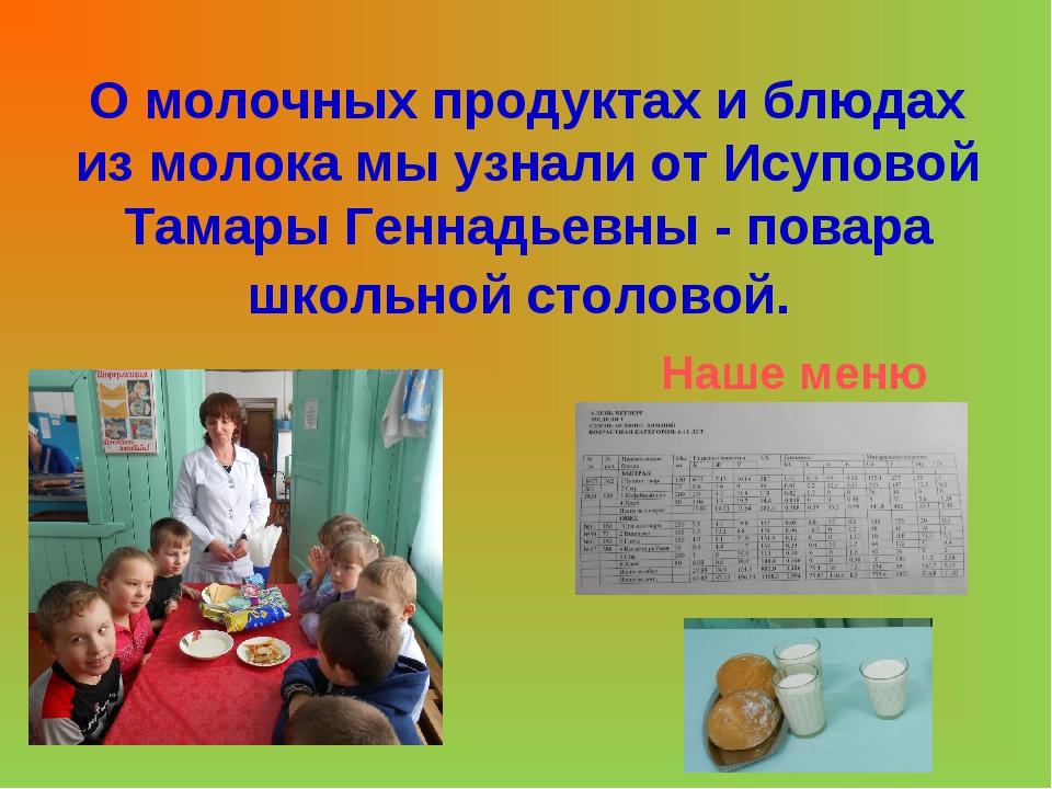 О молочных продуктах и блюдах из молока мы узнали от Исуповой Тамары Геннадье...