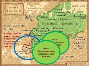 1552 г Присоединение Казанского ханства 1556 г Присоединение Астраханского ха