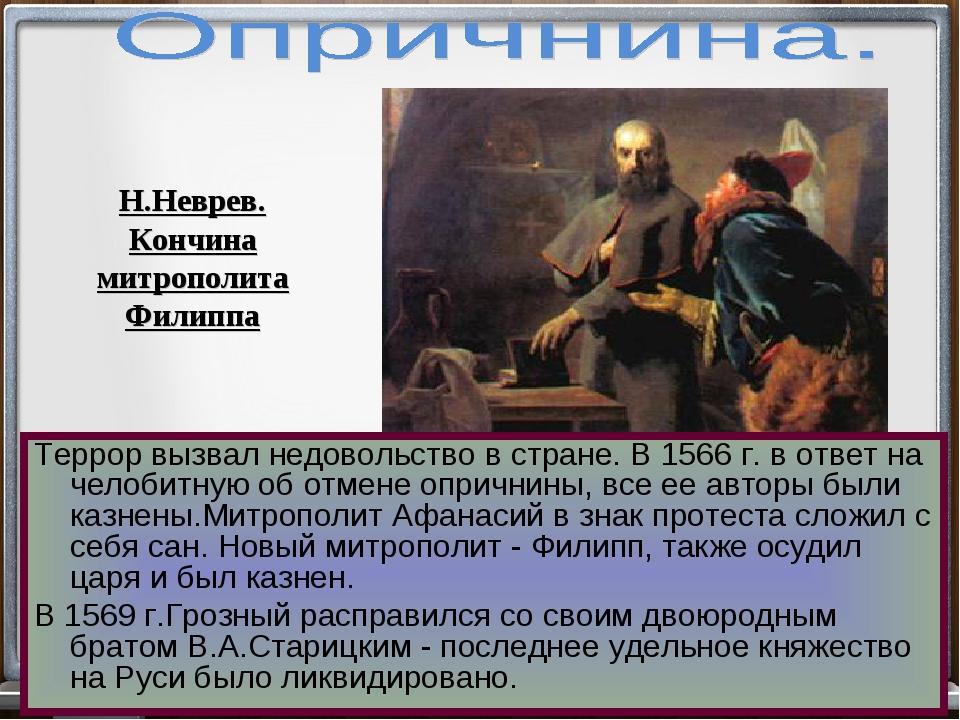 Террор вызвал недовольство в стране. В 1566 г. в ответ на челобитную об отмен...