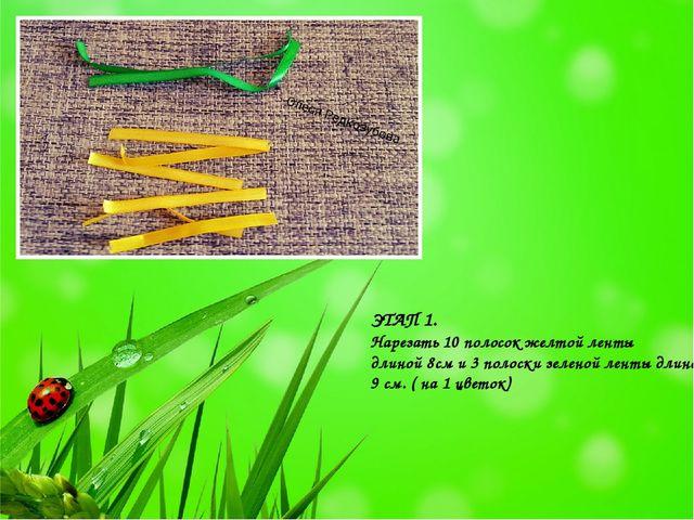 ЭТАП 1. Нарезать 10 полосок желтой ленты длиной 8см и 3 полоски зеленой ленты...