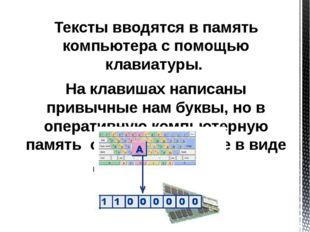 Тексты вводятся в память компьютера с помощью клавиатуры. На клавишах написан
