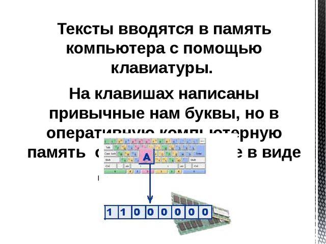 Тексты вводятся в память компьютера с помощью клавиатуры. На клавишах написан...