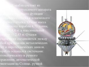 Корабль состоит из сферического спускаемого аппарата также выполняющего функ