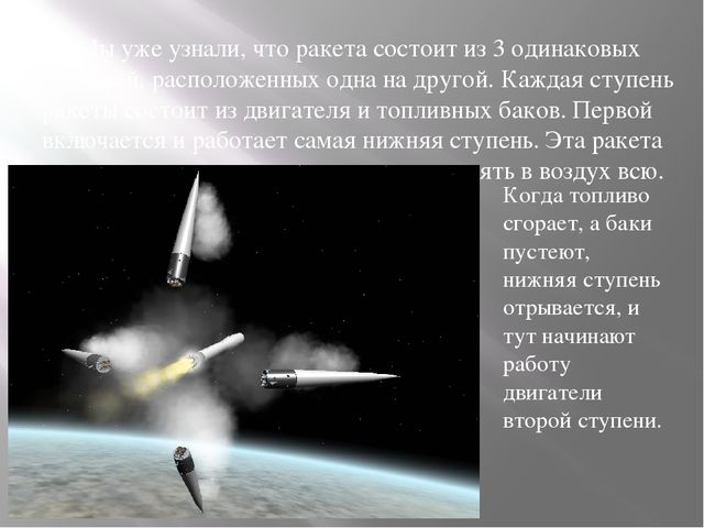 Мы уже узнали, что ракета состоит из 3 одинаковых ступеней, расположенных од...