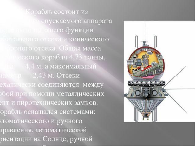 Корабль состоит из сферического спускаемого аппарата также выполняющего функ...