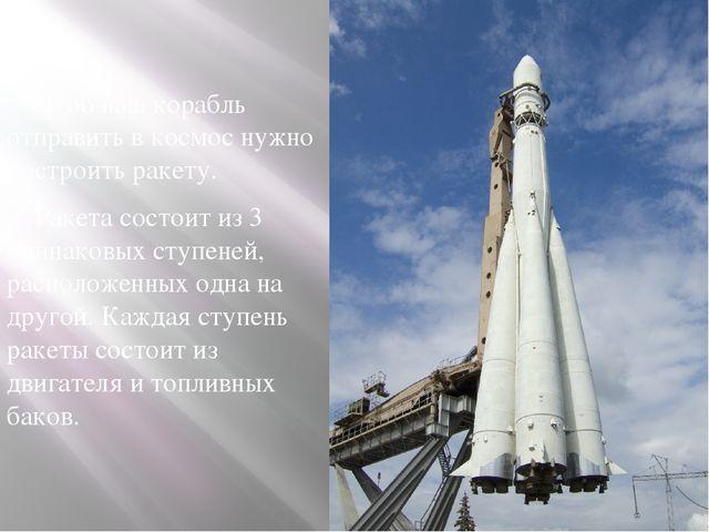 Чтоб наш корабль отправить в космос нужно построить ракету. Ракета состоит и...
