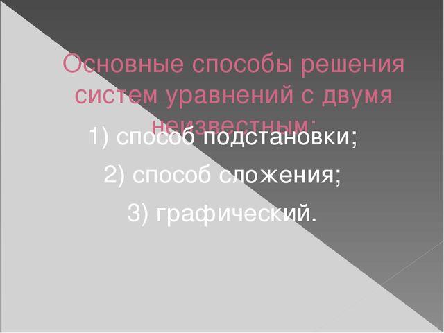 Основные способы решения систем уравнений с двумя неизвестным: 1) способ под...