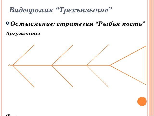"""Видеоролик """"Трехъязычие"""" Осмысление: стратегия """"Рыбья кость"""" Аргументы Факты"""