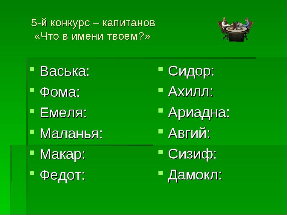 5-й конкурс – капитанов «Что в имени твоем?» Васька: Фома: Емеля: Маланья: Ма...