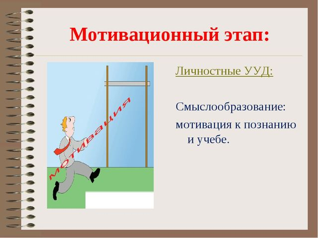 Мотивационный этап: Личностные УУД: Смыслообразование: мотивация к познанию и...