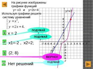 3 2 1 На рисунке изображены графики функций у= х3 и у=2х+4 Используя графики