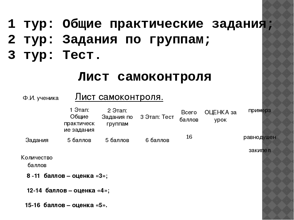 Лист самоконтроля 8 -11 баллов – оценка «3»; 12-14 баллов – оценка «4»; 15-16...