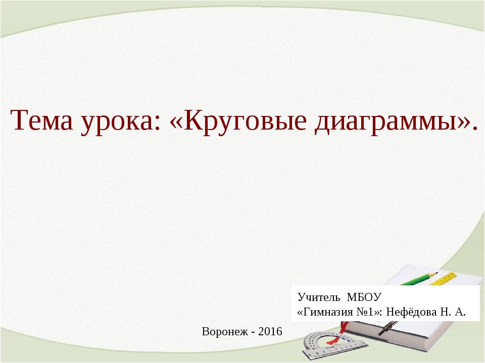 Тема урока: «Круговые диаграммы». Учитель МБОУ «Гимназия №1»: Нефёдова Н. А....