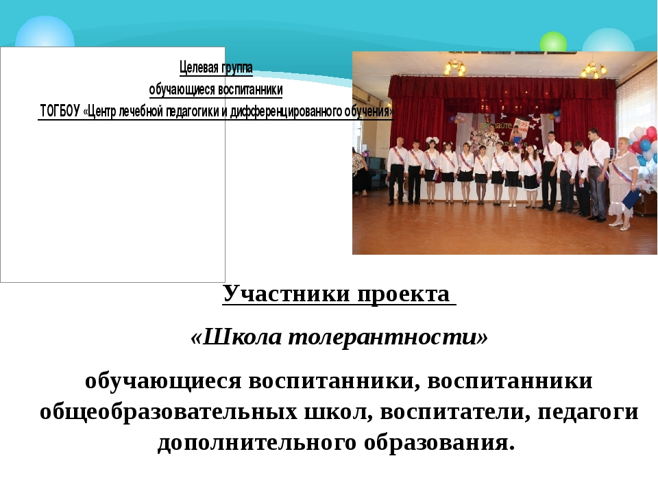 Участники проекта «Школа толерантности» обучающиеся воспитанники, воспитанни...
