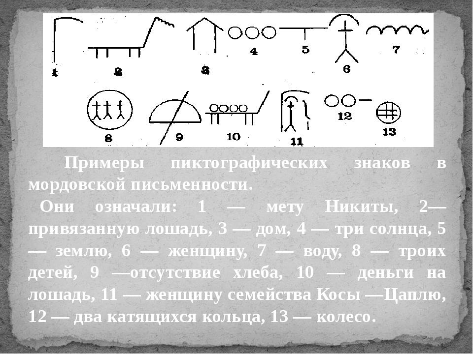 Примеры пиктографических знаков в мордовской письменности. Они означали: 1 —...