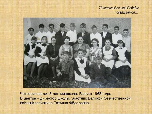 70-летию Великой Победы посвящается… Четвериковская 8-летняя школа. Выпуск 1...