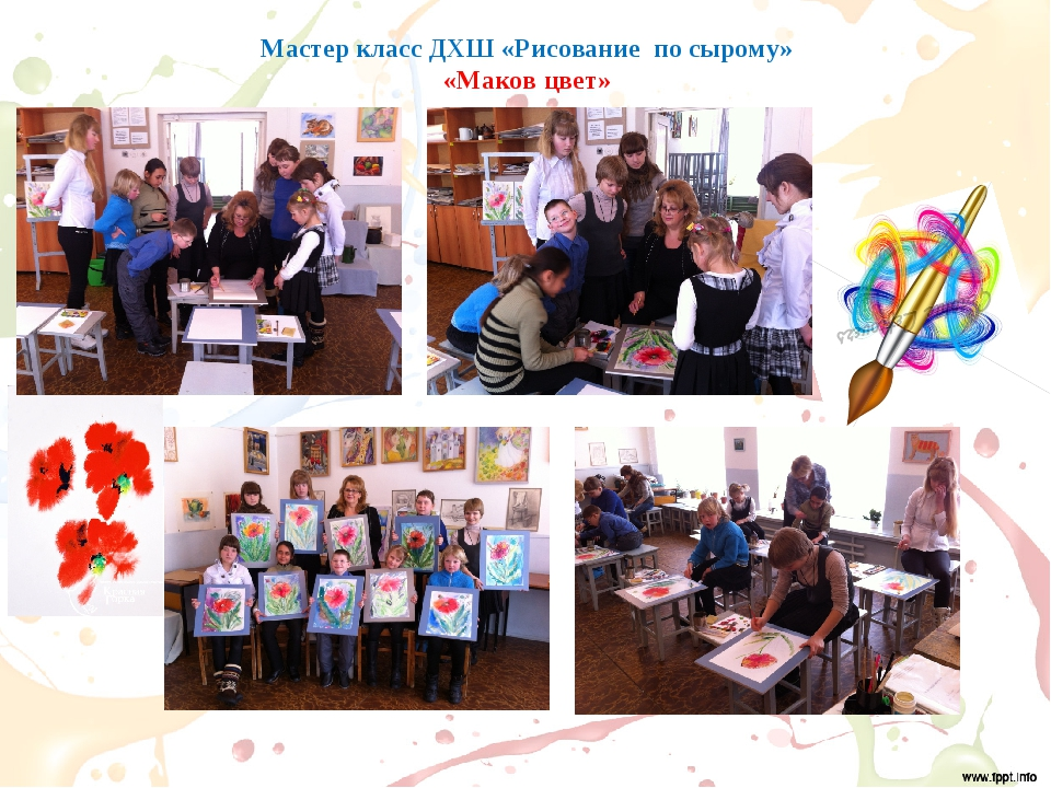 Мастер класс ДХШ «Рисование по сырому» «Маков цвет»