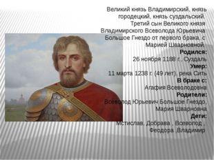 Великий князь Владимирский, князь городецкий, князь суздальский. Третий сын