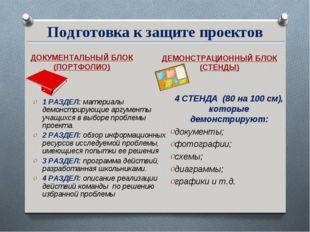Подготовка к защите проектов ДОКУМЕНТАЛЬНЫЙ БЛОК (ПОРТФОЛИО) ДЕМОНСТРАЦИОННЫЙ