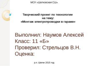 Выполнил: Наумов Алексей Класс: 11 «Б» Проверил: Стрельцов В.Н. Оценка: Творч