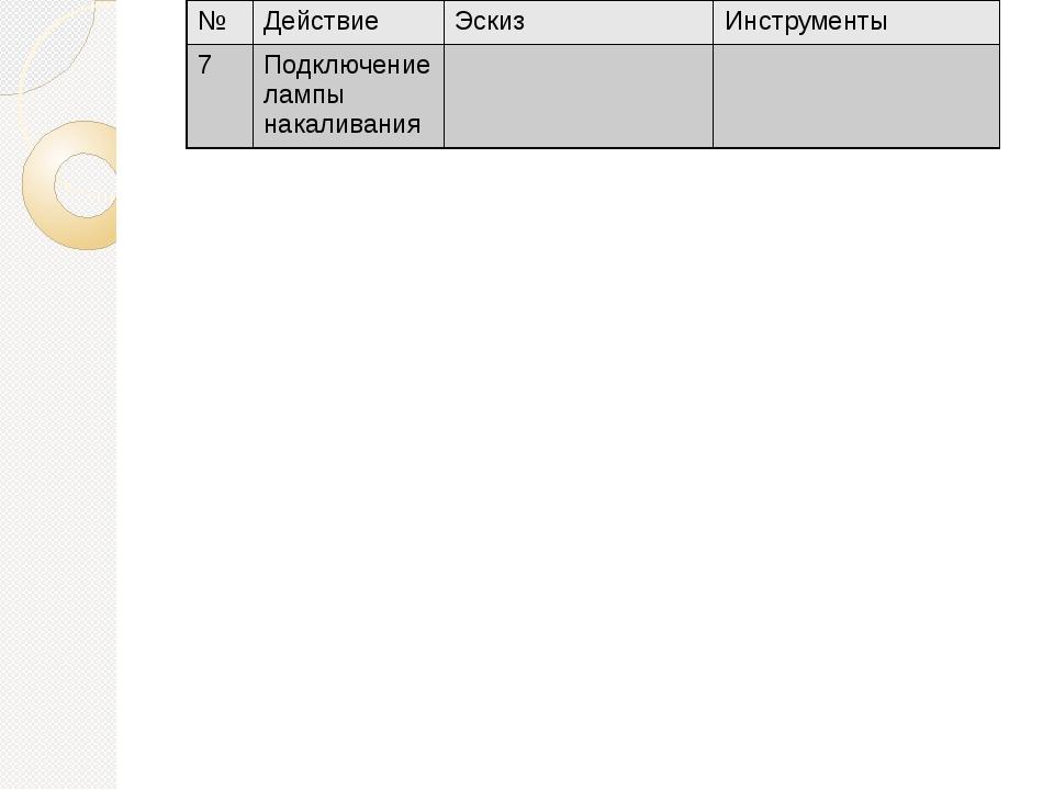 № Действие Эскиз Инструменты 7 Подключение лампы накаливания