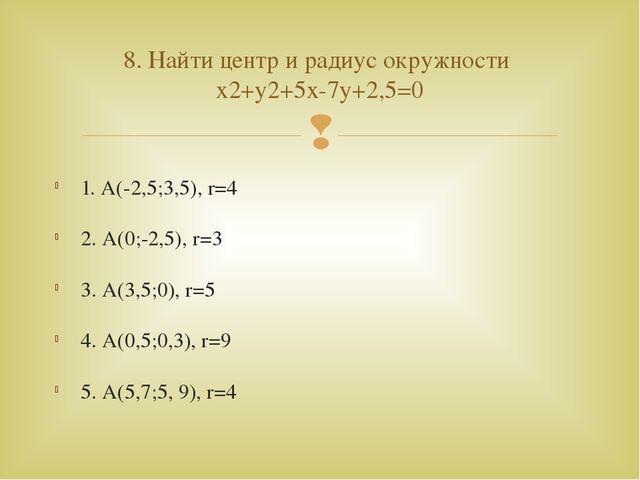 1. А(-2,5;3,5), r=4 2. А(0;-2,5), r=3 3. А(3,5;0), r=5 4. А(0,5;0,3), r=9 5....