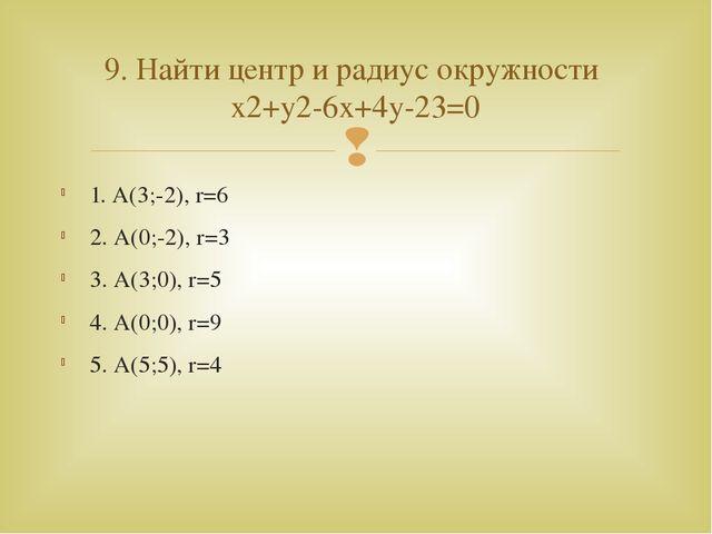 1. А(3;-2), r=6 2. А(0;-2), r=3 3. А(3;0), r=5 4. А(0;0), r=9 5. А(5;5), r=4...