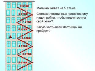 Мальчик живет на 5 этаже. Сколько лестничных пролетов ему надо пройти, чтобы