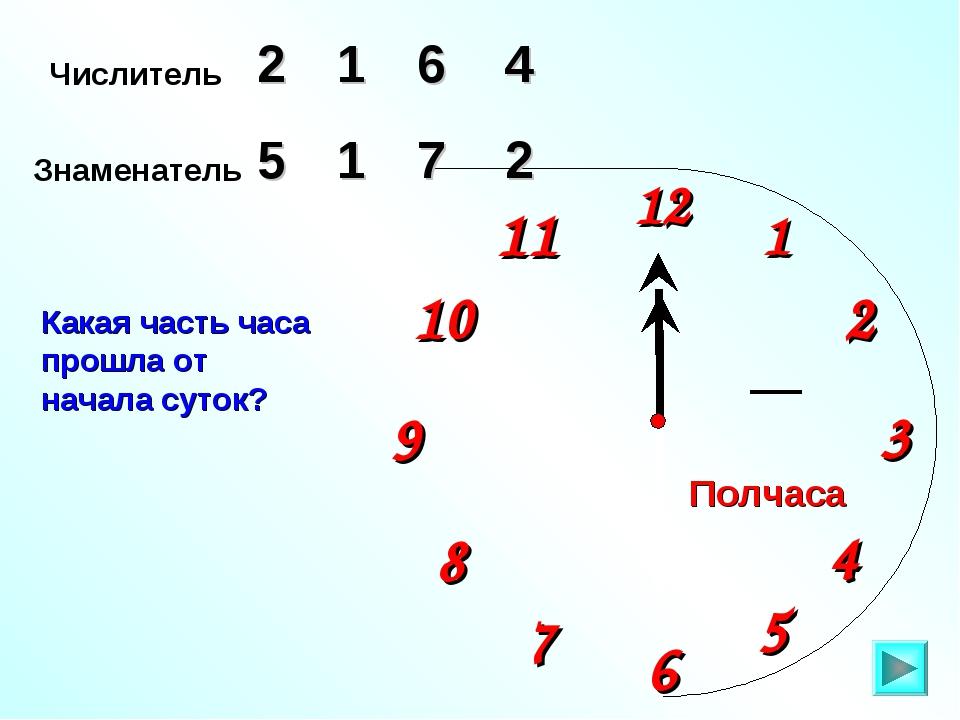 Числитель 2 6 4 Знаменатель 5 1 7 Какая часть часа прошла от начала суток? 1...