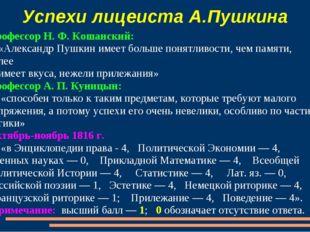 Успехи лицеиста А.Пушкина Профессор Н. Ф. Кошанский: «Александр Пушкин имеет