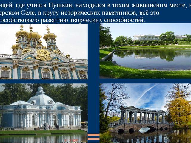 Лицей, где учился Пушкин, находился в тихом живописном месте, в Царском Селе,...