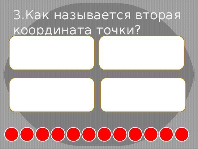 3.Как называется вторая координата точки? А. Абсцисса Б. Уравнение В. Ординат...
