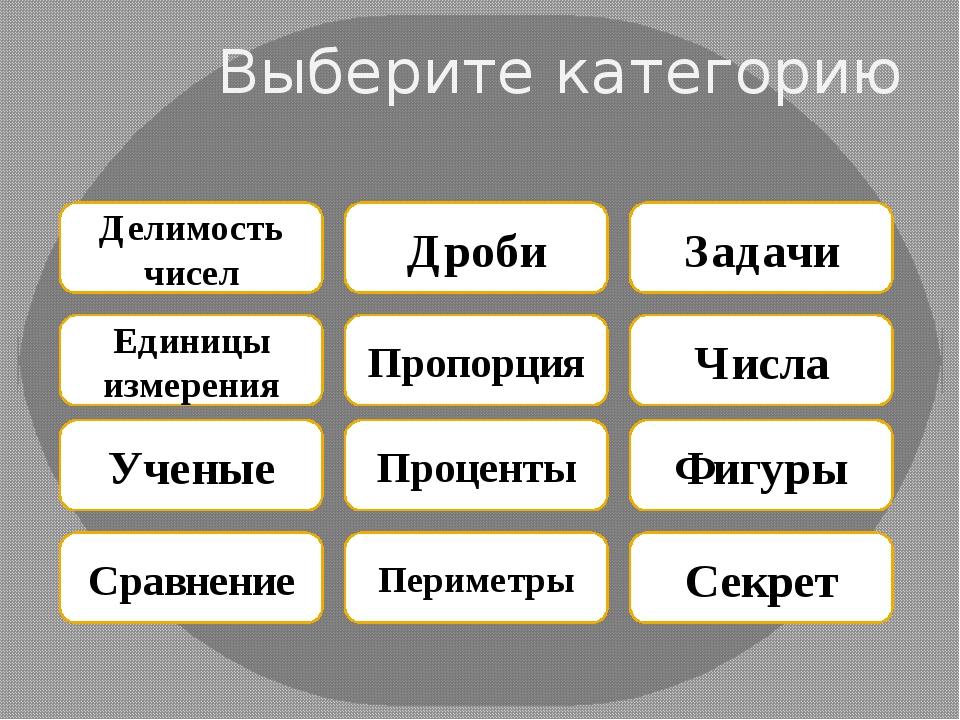 Выберите категорию Делимость чисел Дроби Задачи Единицы измерения Пропорция Ч...