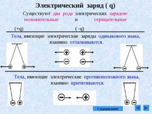 Электрический заряд ( q) Существуют два рода электрических зарядов-положитель