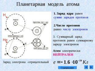 Планетарная модель атома 1. Заряд ядра равен сумме зарядов протонов 2.Число п