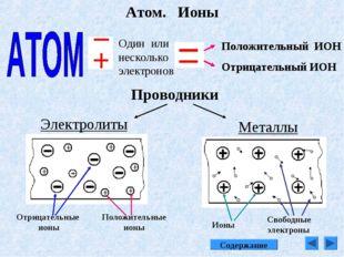 Атом. Ионы Один или несколько электронов Положительный ИОН Отрицательный ИОН