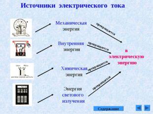 Источники электрического тока в электрическую энергию Механическая энергия Вн