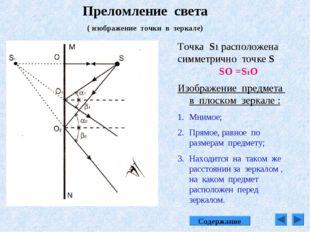 Преломление света ( изображение точки в зеркале) Точка S1 расположена симметр