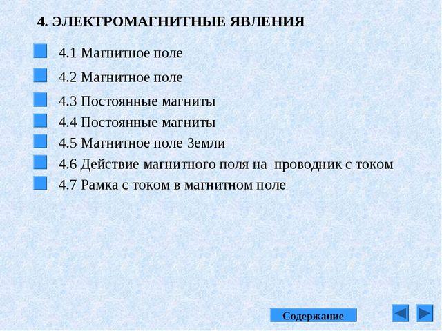 4. ЭЛЕКТРОМАГНИТНЫЕ ЯВЛЕНИЯ 4.1 Магнитное поле 4.2 Магнитное поле 4.3 Постоян...