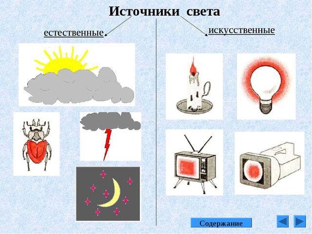 Источники света естественные искусственные Содержание