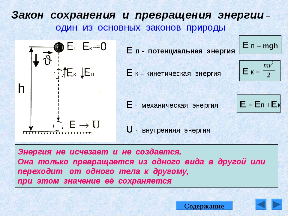 Закон сохранения и превращения энергии –один из основных законов природы Энер...