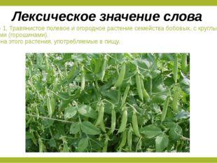 Горох – 1. Травянистое полевое и огородное растение семейства бобовых, с круг