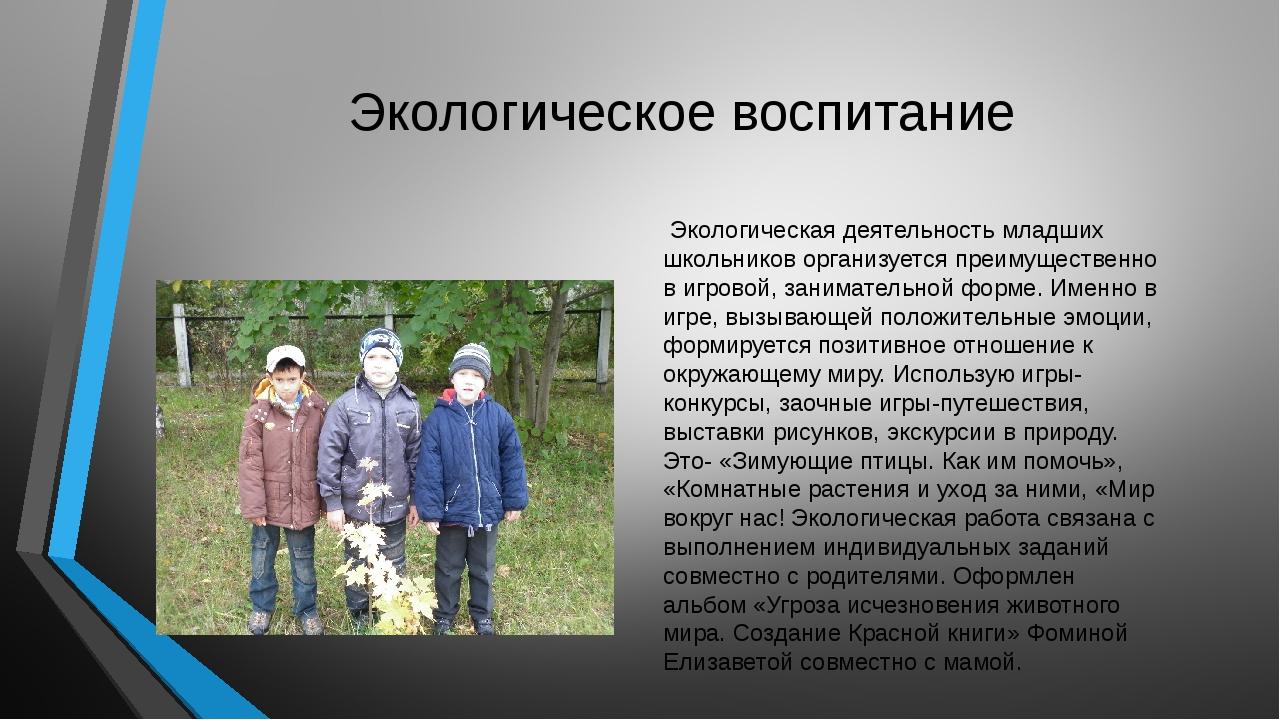 Экологическое воспитание Экологическая деятельность младших школьников органи...