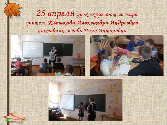 25 апреля урок окружающего мира учитель Клешкова Александра Андреевна настав...