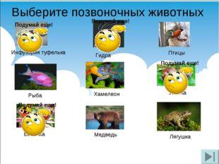 Выберите позвоночных животных